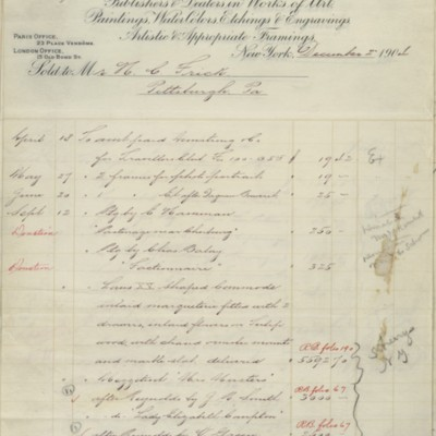 Account statement from M. Knoedler & Co., 18 April 1904 to 2 December 1904