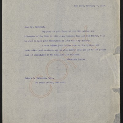 Letter from [Henry C. Frick] to Robert W. De Forest, 8 February 1919