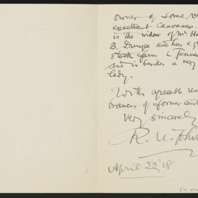 Letter from R.U. Johnson to [J.H.] Bridge, 22 April 1918 [page 2 of 2]