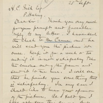 Letter from John C. Van Dyke to Henry Clay Frick, 25 September 1895