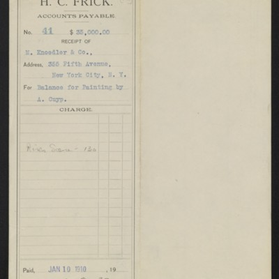 Voucher from H.C. Frick to M. Knoedler & Co., 10 January 1910 [front]