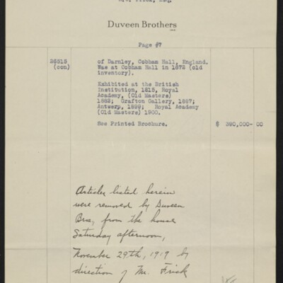 Invoice from Duveen Brothers to H.C. Frick, 20 February 1919 [page 7 of 7]