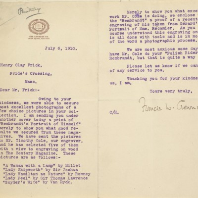 Letter from Francis W. Crowninshield to Henry Clay Frick, 6 July 1910