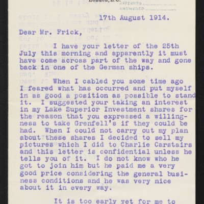 Letter from J.H. Dunn to H.C. Frick, 17 August 1914 [page 1 of 2]