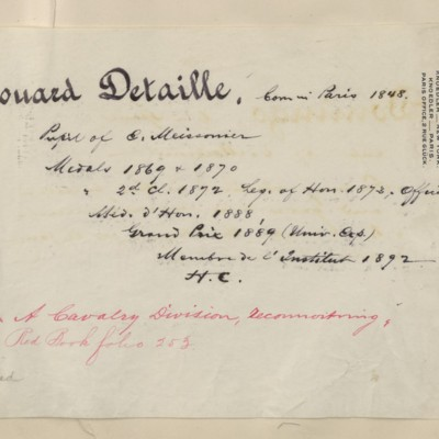 Detaille biography prepared by M. Knoedler & Co., circa 1895