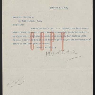 Letter from Henry Clay Frick to National City Bank, 5 October 1909