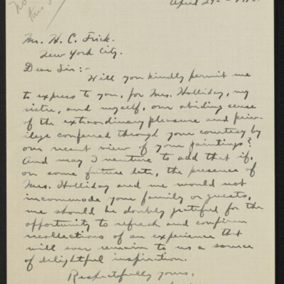Letter from Terence B. Holliday to H.C. Frick, 29 April 1918