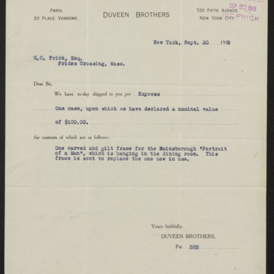 Letter from Duveen Brother to Henry Clay Frick, 30 September 1919
