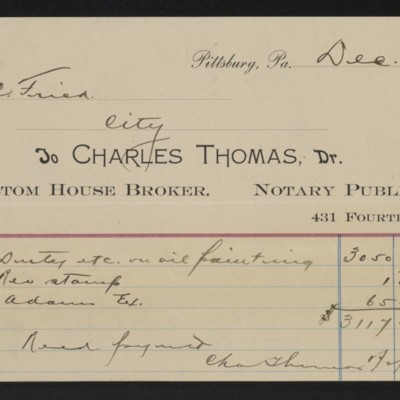 Receipt from Charles Thomas to Henry Clay Frick, 31 December 1900
