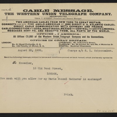 Cable from [Henry Clay] Frick to [Charles S. Carstairs], 28 August 1906 [front]