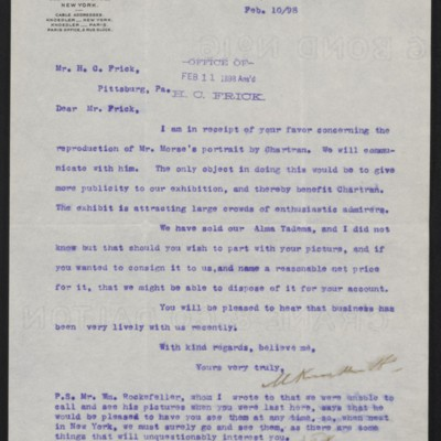 Letter from M. Knoedler & Co. to Henry Clay Frick, 10 February 1898