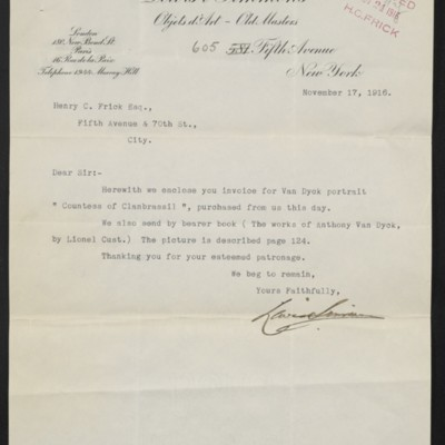 Letter from Lewis & Simmons to Henry Clay Frick, 17 November 1916