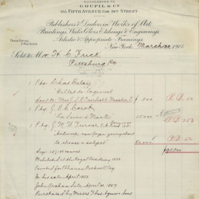 M. Knoedler & Co. Invoice, 30 March 1901