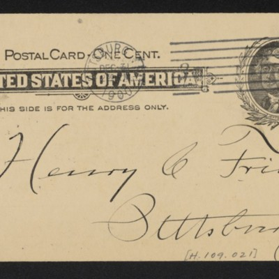 Postcard from Adams Express Company to Henry Clay Frick, 31 December 1900 [back]