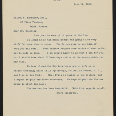 Letter from Henry Clay Frick to Roland F. Knoedler, 14 June 1906
