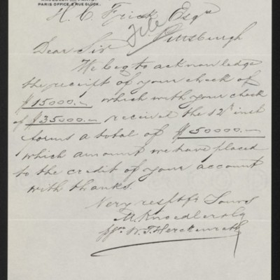 Letter from M. Knoedler & Co. to Henry Clay Frick, 26 September 1901