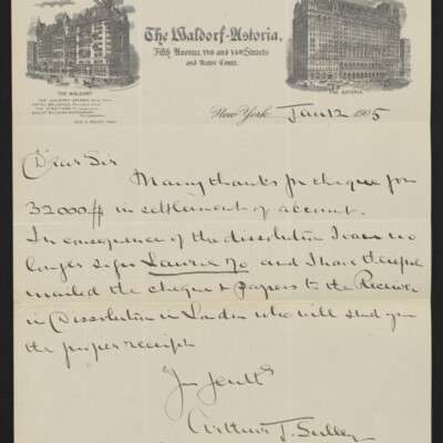 Letter from Arthur J. Sulley to H.C. Frick, 12 January 1905
