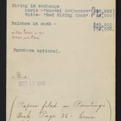 """Envelope for correspondence with Carstairs in connection with Maris' """"The Bridge,"""" 1906"""