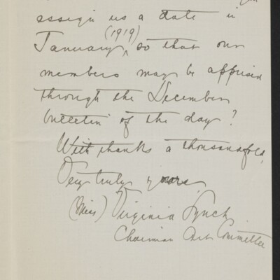 Letter from Virginia Lynch to Henry C. Frick, 18 November 1918 [page 2 of 2]