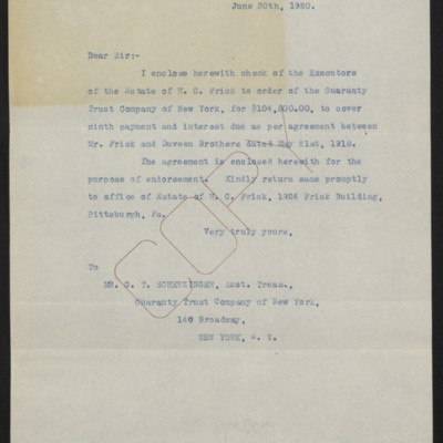 Letter from [Office of the Estate of Henry Clay Frick] to G.T. Scherzinger, 30 June 1920