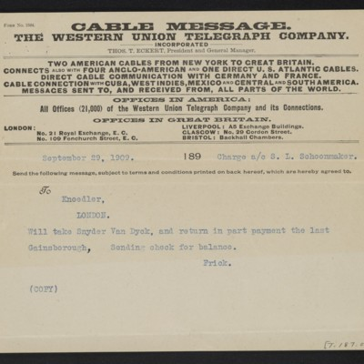 Copy of a cable from [Henry Clay] Frick to M. Knoedler & Co., 29 September 1909 [front]