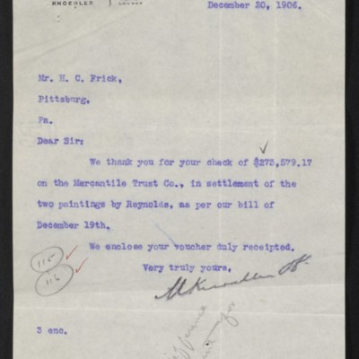 Letter from M. Knoedler & Co. to Henry Clay Frick, 20 December 1906