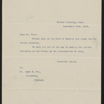 Letter from Henry Clay Frick to Roger E. Fry, 14 September 1910