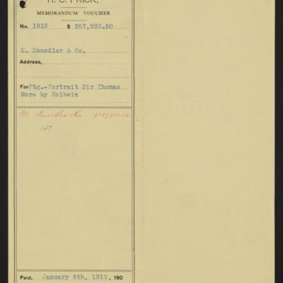 Memorandum voucher from Henry Clay Frick to M. Knoedler & Co., 9 January 1912