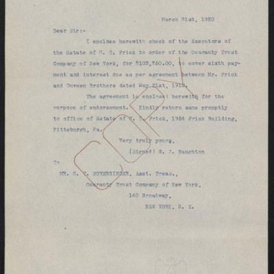 Letter from W.J. Naughton to G.T. Scherzinger, 31 March 1920