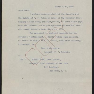 Letter from W.J. Naughton to G.T. Scherzinger, 31 March 1920