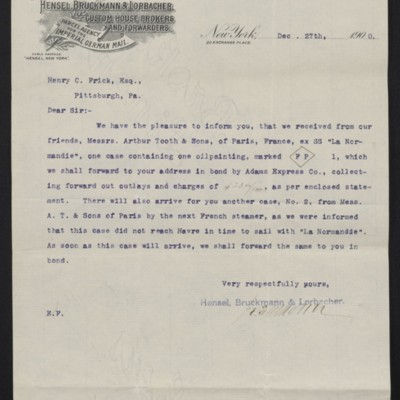Letter from Hensel, Bruckmann & Lorbacher to Henry Clay Frick, 27 December 1900