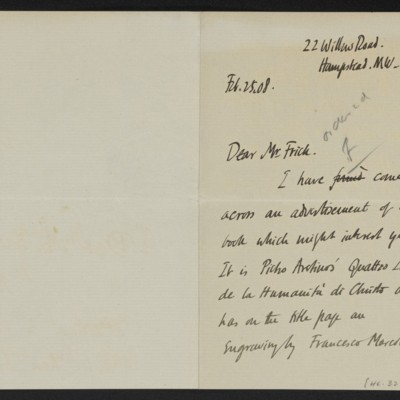 Letter from Roger E. Fry to Henry Clay Frick, 25 February 1908, Page 1 of 2