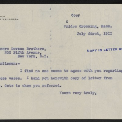 Letter from [Henry Clay Frick] to Duveen Brothers, 1 July 1911