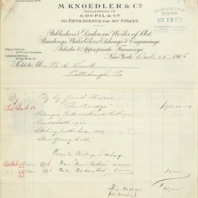 M. Knoedler & Co. Invoice, 12 October 1906