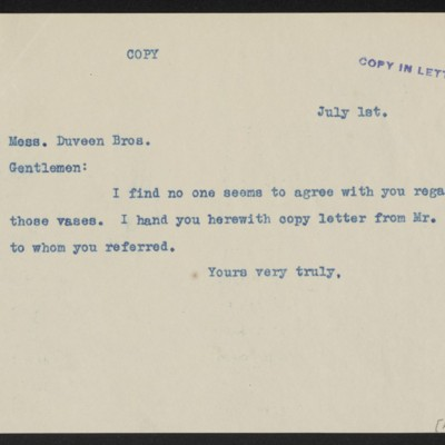 Letterfrom [Henry Clay Frick] to Duveen Brothers, 1 July 1911