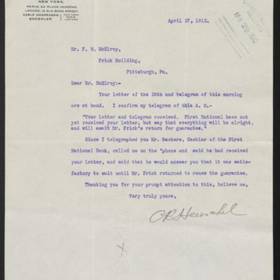 Letter from C.R. Henschel to F.W. McElroy, 27 April 1912
