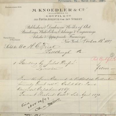 M. Knoedler & Co. Invoice, 18 November 1897