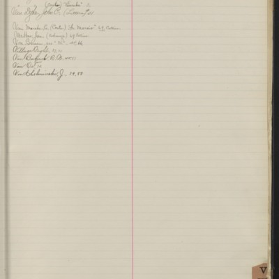 Bill Book No. 1, Index V