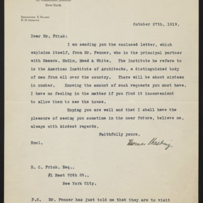 Letter from Thomas Hastings to H.C. Frick, 27 October 1919