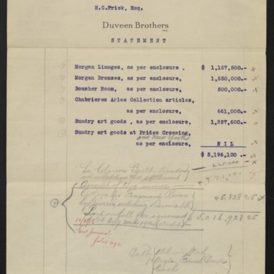 Statement from Duveen Brothers to Henry Clay Frick, 21 June 1916