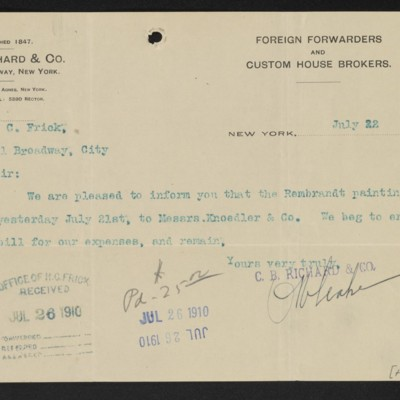 Letter from C.B. Richard & Co. to Henry Clay Frick, 22 July 1910