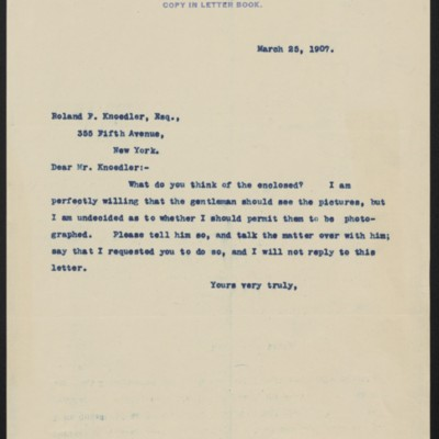 Letter from Henry Clay Frick to Roland F. Knoedler, 25 March 1907