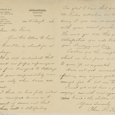 Letter from Charles Carstairs to Henry Clay Frick, 14 August 1896