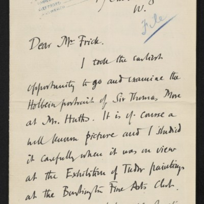 Letter from Roger E. Fry to Henry Clay Frick, circa 3 March 1911 [page 1 of 3]