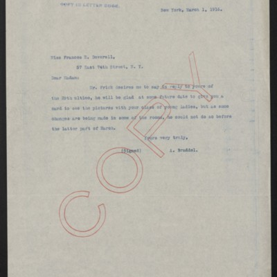 Letter from A. Braddel to Frances E. Deverell, 1 March 1916