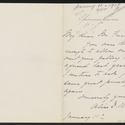 Letter from Alice D. Weekes to [H.C.] Frick, 11 January 1917