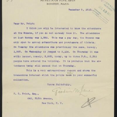Letter from Gardiner M. Lane to H.C. Frick, 9 December 1910