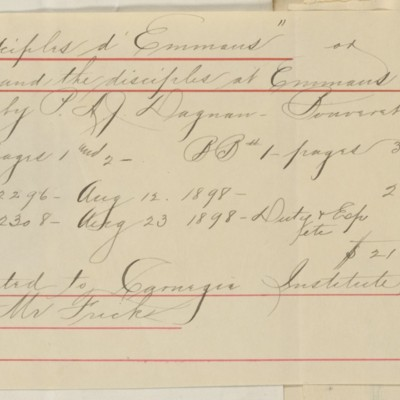 Note appended to Arthur Tooth & Sons Invoice, 29 July 1898