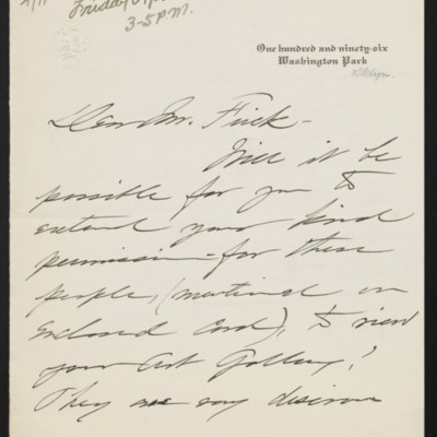 Letter from Helen Foster Barnett to [H.C.] Frick, 9 April 1919 [page 1 of 2]