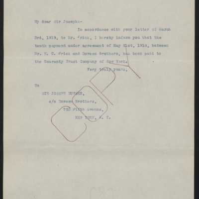 Letter from [Office of the Estate of Henry Clay Frick] to Joseph Duveen, 31 July 1920